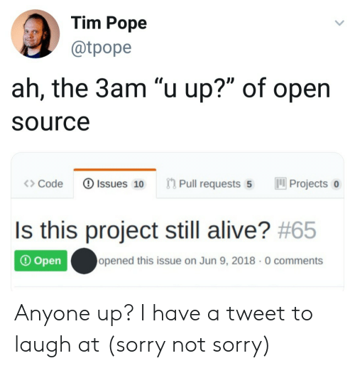 "Alive, Pope Francis, and Sorry: Tim Pope  @tpope  ah, the 3am ""u up?"" of open  Source  Pull requests 5  Issues 10  Projects  Code  Is this project still alive? #65  opened this issue on Jun 9, 2018 0 comments  Open Anyone up? I have a tweet to laugh at (sorry not sorry)"