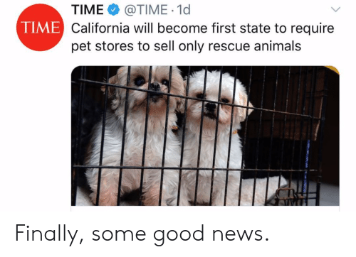 Animals, News, and California: TIME @TIME 1d  California will become first state to require  pet stores to sell only rescue animals  TIME Finally, some good news.