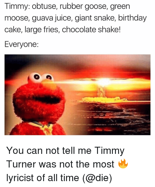 Large Fries Chocolate Shake: Timmy: obtuse, rubber goose, green  moose, guava juice, giant snake, birthday  cake, large fries, chocolate shake!  Everyone You can not tell me Timmy Turner was not the most 🔥 lyricist of all time (@die)