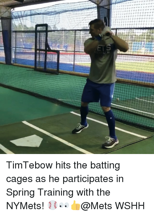batting: TimTebow hits the batting cages as he participates in Spring Training with the NYMets! ⚾️👀👍@Mets WSHH