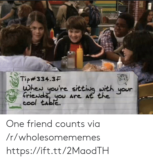 Cool, Table, and One: Tip#334.3F  whew you're sitting with  friewds, you Are At the  cool table  your One friend counts via /r/wholesomememes https://ift.tt/2MaodTH