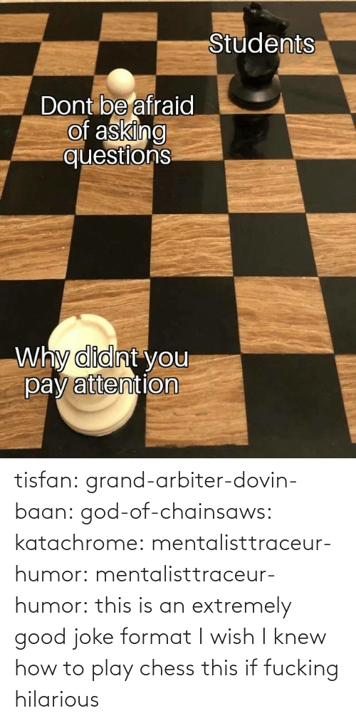 play: tisfan:  grand-arbiter-dovin-baan:  god-of-chainsaws:  katachrome:  mentalisttraceur-humor:  mentalisttraceur-humor:      this is an extremely good joke format    I wish I knew how to play chess     this if fucking hilarious