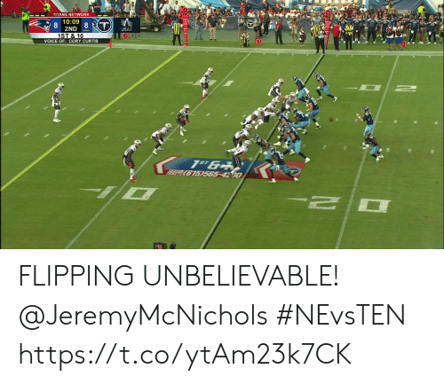 Memes, Voice, and 🤖: TITANS NETWORK  10:09  2ND 8 T)  1ST &10  USAA  G-  VOICE OF: CORY CURTIS  1S 6  615)565-4500 FLIPPING UNBELIEVABLE! @JeremyMcNichols  #NEvsTEN https://t.co/ytAm23k7CK