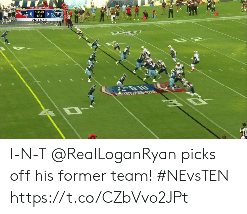 Memes, 🤖, and Titans: TITANS NETWORK  13:49  0  1ST  0  2ND & 10  2610  LG15ISA85-4200 I-N-T  @RealLoganRyan picks off his former team! #NEvsTEN https://t.co/CZbVvo2JPt