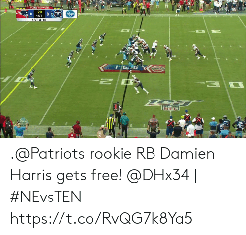 Memes, Patriotic, and Free: TITANS NETWORK  20  8 T Kroger  1ST  1ST & 10  46  59 .@Patriots rookie RB Damien Harris gets free!  @DHx34 | #NEvsTEN https://t.co/RvQG7k8Ya5