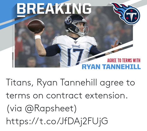 Contract: Titans, Ryan Tannehill agree to terms on contract extension. (via @Rapsheet) https://t.co/JfDAj2FUjG
