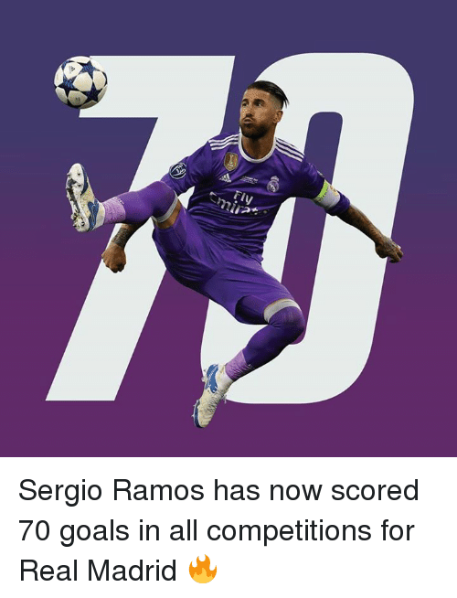 realness: Tiy Sergio Ramos has now scored 70 goals in all competitions for Real Madrid 🔥