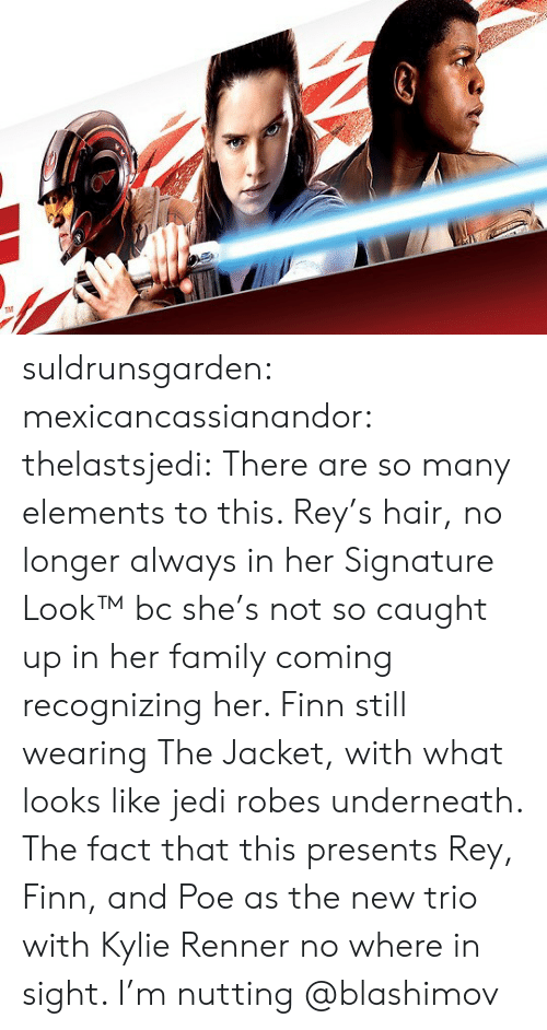 Finn And Poe: TM suldrunsgarden: mexicancassianandor:  thelastsjedi:  There are so many elements to this. Rey's hair, no longer always in her Signature Look™ bc she's not so caught up in her family coming recognizing her.  Finn still wearing The Jacket, with what looks like jedi robes underneath. The fact that this presents Rey, Finn, and Poe as the new trio with Kylie Renner no where in sight. I'm nutting   @blashimov