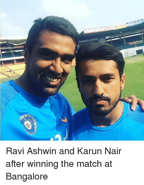 Karun Nair: tnomo0 simila  A Ravi Ashwin and Karun Nair after winning the match at Bangalore