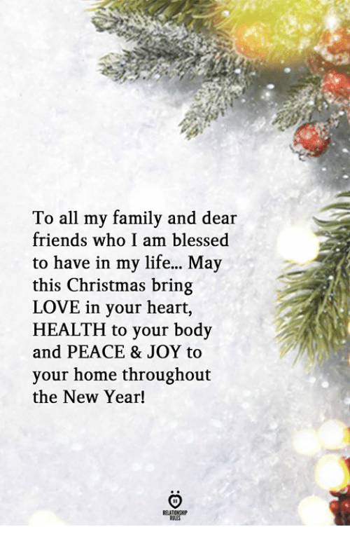 this christmas: To all my family and dear  friends who I am blessed  to have in my life... May  this Christmas bring  LOVE in your heart,  HEALTH to your body  and PEACE & JOY to  your home throughout  the New Year!  RELATIONSH  KALES