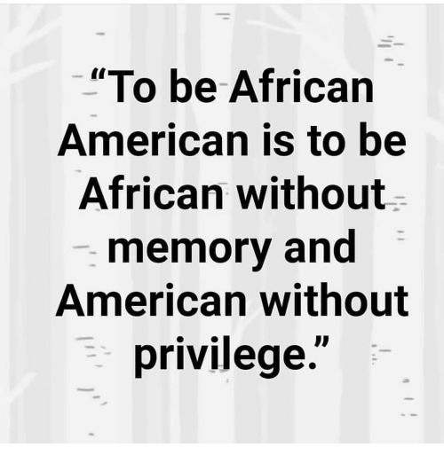 """Memes, American, and 🤖: """"To be African  American is to be  African without  memory and  American without  privilege."""""""