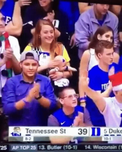Top 25: TO  Tennessee St  8-2  39 5 Duke  10-1  25 AP TOP 25 13. Butler (10-1)  14 Wisconsin (n