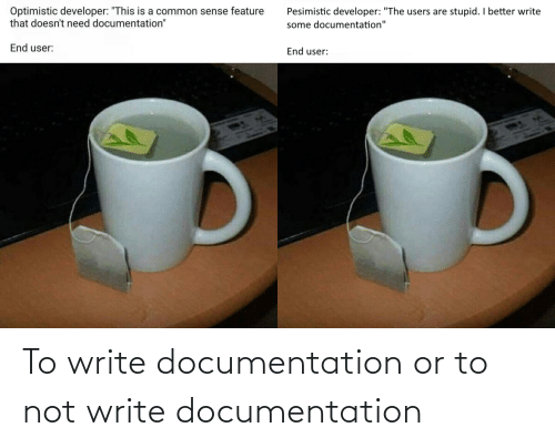 Documentation, Not, and Write: To write documentation or to not write documentation
