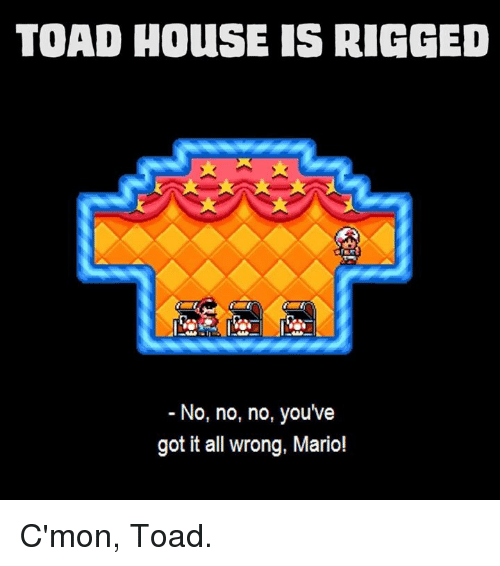 youve-got-it: TOAD HOuSE IS RIGGED  No, no, no, you've  got it all wrong, Mario! C'mon, Toad.