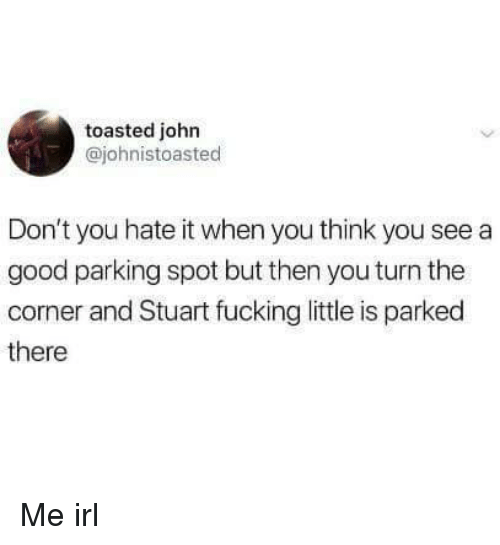 Fucking, Good, and Irl: toasted john  @johnistoasted  Don't you hate it when you think you see a  good parking spot but then you turn the  corner and Stuart fucking little is parked  there Me irl