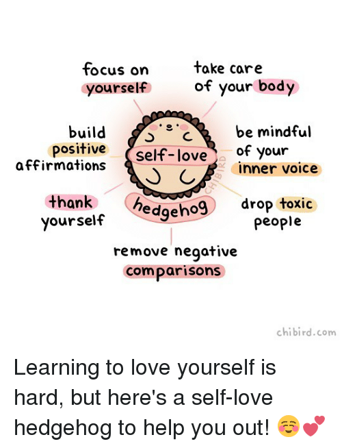 Hedgehoging: tocus on  yourself  take care  of your body  build C  be mindful  c  positive self-love of your  affirmations  C  inner voice  yourself edgeho9 drop toxic  remove negative  comparisons  thank  people  chibird.com Learning to love yourself is hard, but here's a self-love hedgehog to help you out! ☺️💕