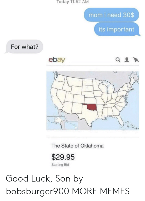 Bid: Today 11:52 AM  mom i need 30$  its important  For what?  ebay  The State of Oklahoma  $29.95  Starting Bid Good Luck, Son by bobsburger900 MORE MEMES