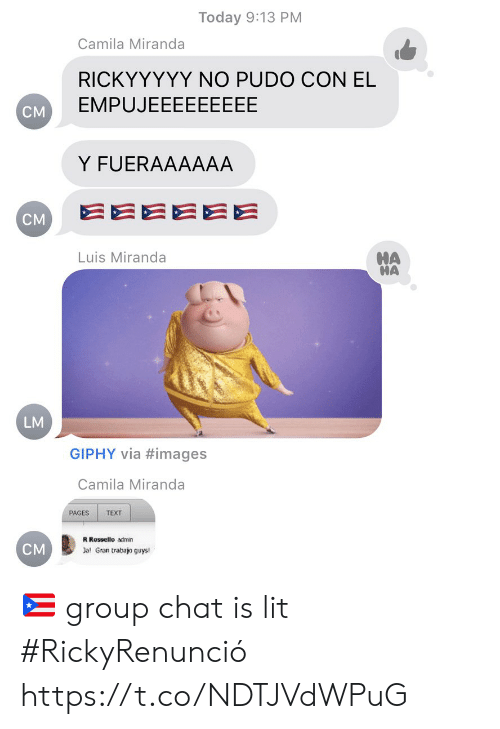 pages: Today 9:13 PM  Camila Miranda  RICKYYYYY NO PUDO CON EL  EMPUJEEEEEEEEE  CM  Y FUERAAAAAA  EEEEEE  CM  HA  HA  Luis Miranda  LM  GIPHY via #images  Camila Miranda  PAGES  TEXT  R Rossello admin  CM  Jal Gran trabajo guys! 🇵🇷 group chat is lit #RickyRenunció https://t.co/NDTJVdWPuG
