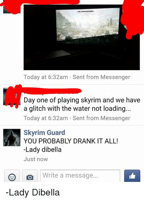Today at 632am Sent From Messenger Day One of Playing Skyrim
