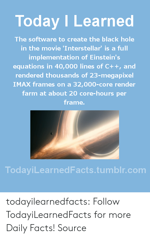 Equations: Today ILearned  The software to create the black hole  in the movie 'Interstellar' is a full  implementation of Einstein's  equations in 40,000 lines of C++, and  rendered thousands of 23-megapixel  IMAX frames on a 32,000-core render  farm at about 20 core-hours per  frame.  TodayiLearnedFacts.tumblr.com todayilearnedfacts: Follow TodayiLearnedFacts for more Daily Facts! Source