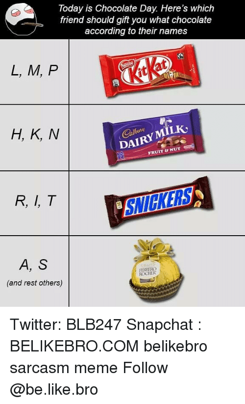 snickers: Today is Chocolate Day. Here's which  friend should gift you what chocolate  according to their names  L, M, P  it  H, K, N  DAIRYMILK  FRUIT & NUT  R, I, T  SNICKERS  A, S  (and rest others)  FENRERG  CHER Twitter: BLB247 Snapchat : BELIKEBRO.COM belikebro sarcasm meme Follow @be.like.bro