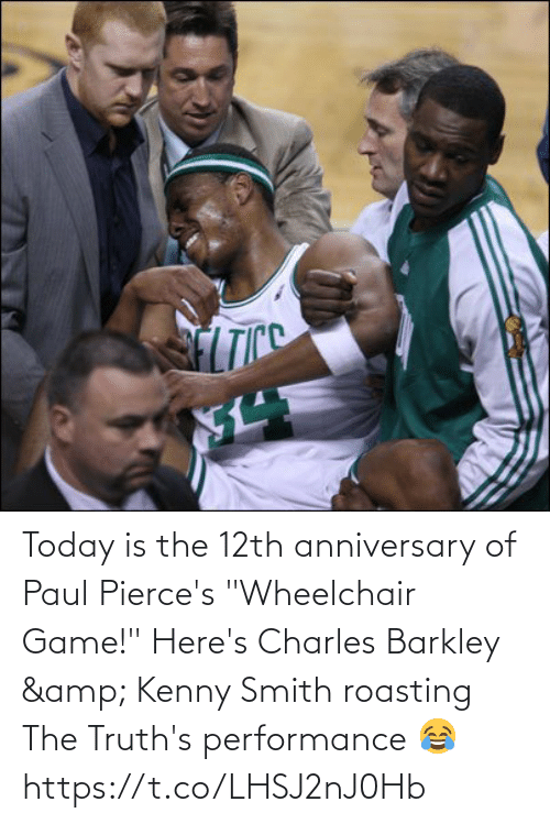 """kenny: Today is the 12th anniversary of Paul Pierce's """"Wheelchair Game!""""   Here's Charles Barkley & Kenny Smith roasting The Truth's performance 😂   https://t.co/LHSJ2nJ0Hb"""