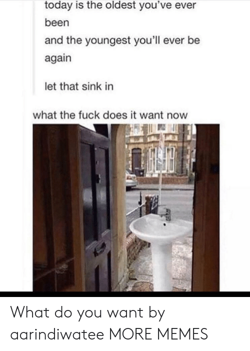 Let That Sink In: today is the oldest you've ever  been  and the youngest you'll ever be  again  let that sink in  what the fuck does it want now What do you want by aarindiwatee MORE MEMES