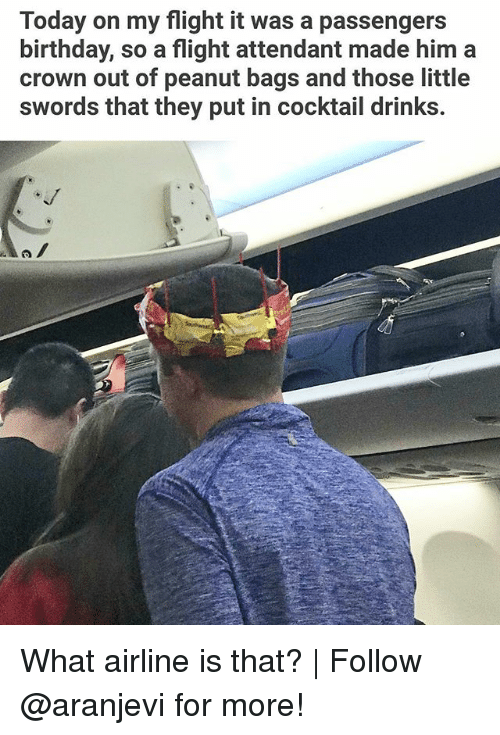 Birthday, Memes, and Flight: Today on my flight it was a passengers  birthday, so a flight attendant made him a  crown out of peanut bags and those little  swords that they put in cocktail drinks. What airline is that?   Follow @aranjevi for more!