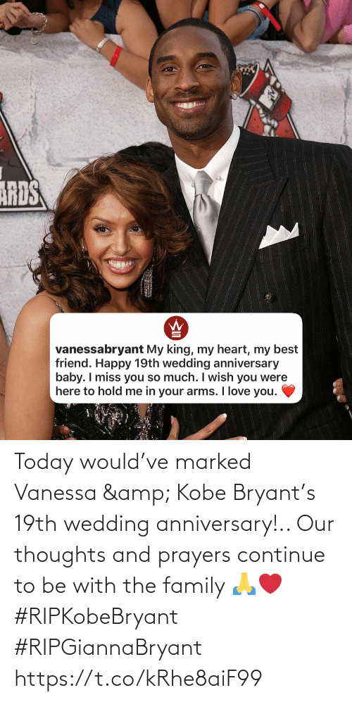 Kobe: Today would've marked Vanessa & Kobe Bryant's 19th wedding anniversary!.. Our thoughts and prayers continue to be with the family 🙏❤️ #RIPKobeBryant #RIPGiannaBryant https://t.co/kRhe8aiF99