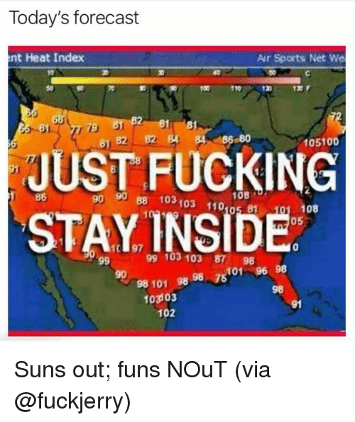 Fuckjerry: Today's forecast  nt Heat Index  Air Sports Net We  011910  81 8  B2 4 84 186 80  81  105100  JUST FUCKING  STAYINSIDE  86  n 90 88 103103 110 81  90  08  108  05  0  99 103 103 87 98  5101 96 98  98  90  98 101 98 98  7  103103  91  102 Suns out; funs NOuT (via @fuckjerry)