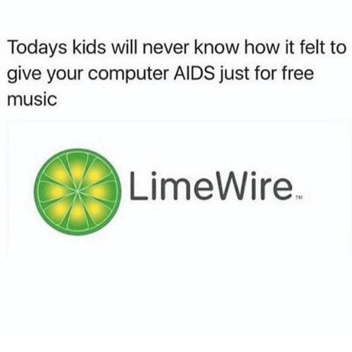 """Memes, Music, and Computer: Todays kids will never know how it felt to  give your computer AIDS just for free  music  LimeWire."""""""