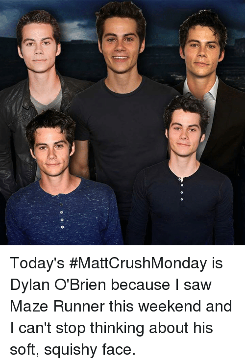 squishies: Today's #MattCrushMonday is Dylan O'Brien because I saw Maze Runner this weekend and I can't stop thinking about his soft, squishy face.