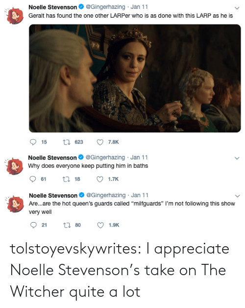 Quite: tolstoyevskywrites: I appreciate Noelle Stevenson's take on The Witcher quite a lot