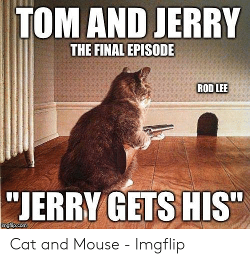 "Jerry Mouse: TOM AND JERRY  THE FINAL EPISODE  ROD LEE  ""JERRY GETS HIS""  imgflip.com Cat and Mouse - Imgflip"