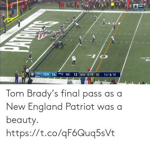 NFL: Tom Brady's final pass as a New England Patriot was a beauty.  https://t.co/qF6Quq5sVt