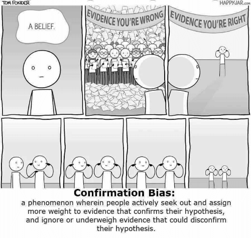 Confirmation Bias: TOM FONDER  HAPPYJAR.co  EVIDENCE YOU'RE WRONGEVIDENCE YOU'RE RIGHT  A BELIEF.  Confirmation Bias:  a phenomenon wherein people actively seek out and assign  more weight to evidence that confirms their hypothesis,  and ignore or underweigh evidence that could disconfirm  their hypothesis