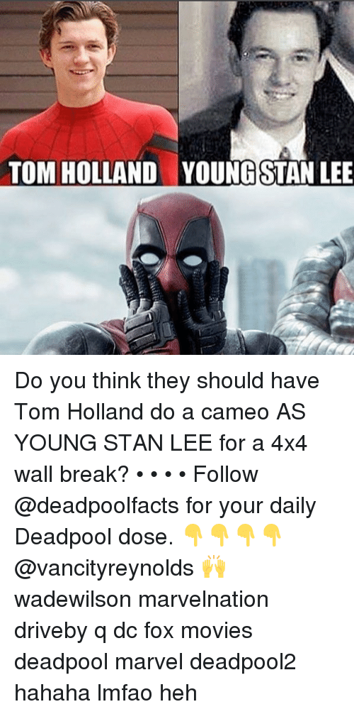 Stanning: TOM HOLLAND  YOUNG STAN LEE Do you think they should have Tom Holland do a cameo AS YOUNG STAN LEE for a 4x4 wall break? • • • • Follow @deadpoolfacts for your daily Deadpool dose. 👇👇👇👇 @vancityreynolds 🙌 wadewilson marvelnation driveby q dc fox movies deadpool marvel deadpool2 hahaha lmfao heh