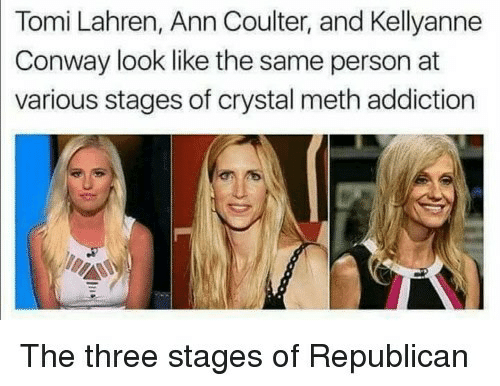 Conway, Ann Coulter, and Meth: Tomi Lahren, Ann Coulter, and Kellyanne  Conway look like the same person at  various stages of crystal meth addiction  The three stages of Republicarn