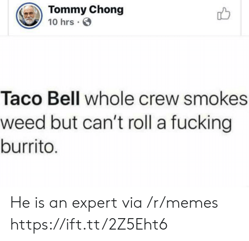 Taco Bell: Tommy Chong  10 hrs  Taco Bell whole crew smokes  weed but can't roll a fucking  burrito. He is an expert via /r/memes https://ift.tt/2Z5Eht6