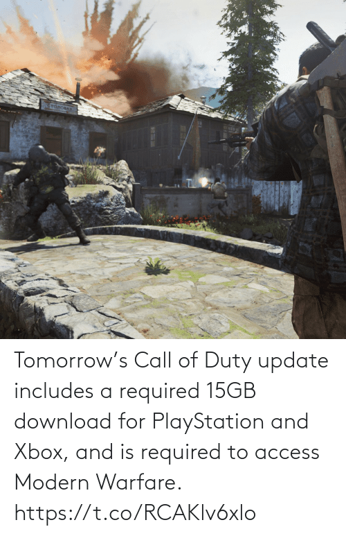 PlayStation: Tomorrow's Call of Duty update includes a required 15GB download for PlayStation and Xbox, and is required to access Modern Warfare. https://t.co/RCAKlv6xlo