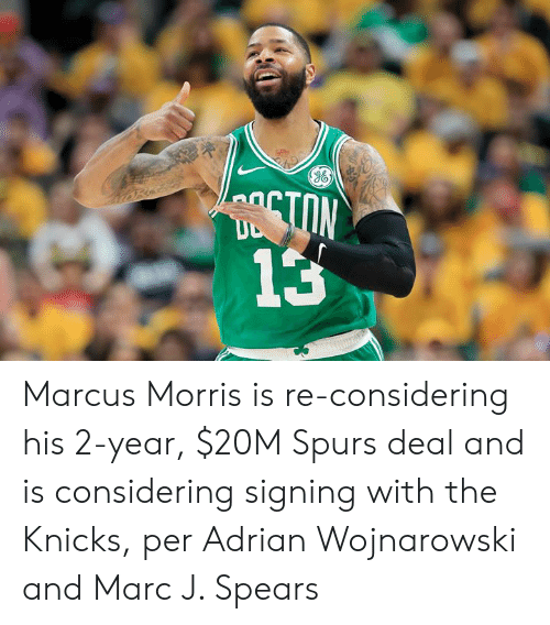 New York Knicks, Spurs, and Marc: TON  13 Marcus Morris is re-considering his 2-year, $20M Spurs deal and is considering signing with the Knicks, per Adrian Wojnarowski and Marc J. Spears