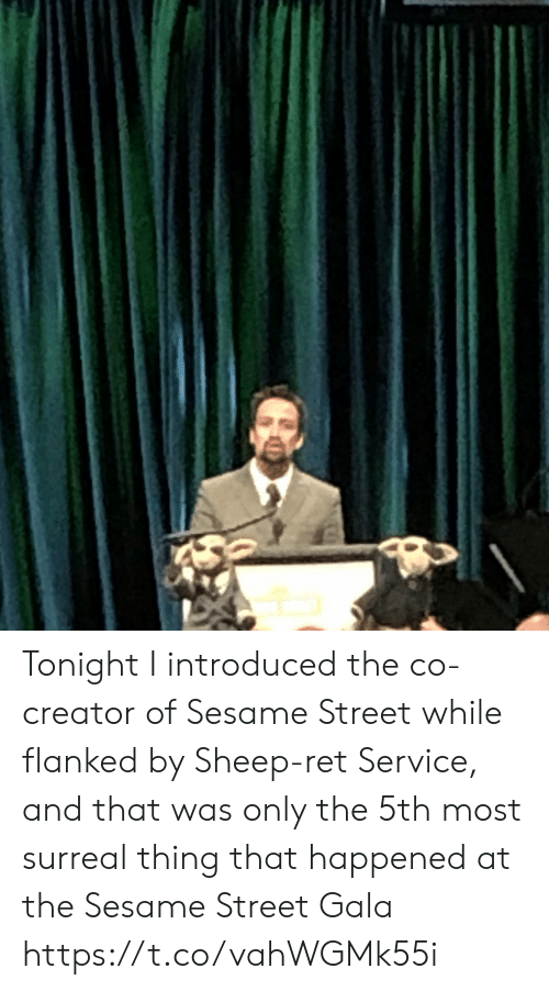 Memes, Sesame Street, and 🤖: Tonight I introduced the co-creator of Sesame Street while flanked by Sheep-ret Service, and that was only the 5th most surreal thing that happened at the Sesame Street Gala https://t.co/vahWGMk55i