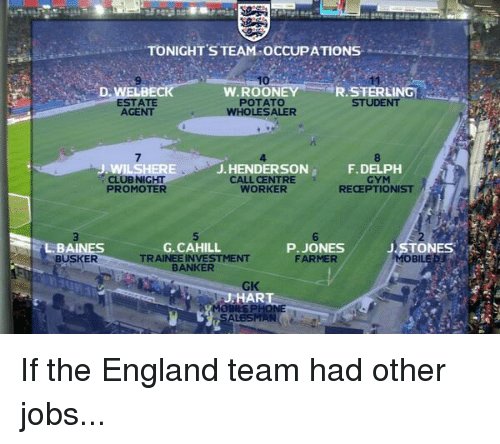 Dank, 🤖, and Team: TONIGHT STEAM OCCUPATIONS  10  W. ROON  ESTATE  POTATO  AGENT  WHOLESALER  J. HENDERSON  DEL  NIGHT  CENTRE  RECEPTIONIST  WORKER  PROMOTER  TONES  G, CAHILL  P. JONES  TRAINEE INVESTMENT  FARMER  BAI  BUSKER BANKER  ALESMANs If the England team had other jobs...