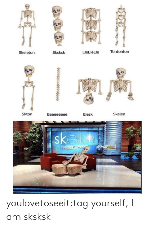 tag yourself: Tontonton  EleEleEle  Sksksk  Skeleton  Skton  Skelen  Eeeeeeeee  Elesk  skelleh  Sooron 12 Ficiale youlovetoseeit:tag yourself, I am sksksk