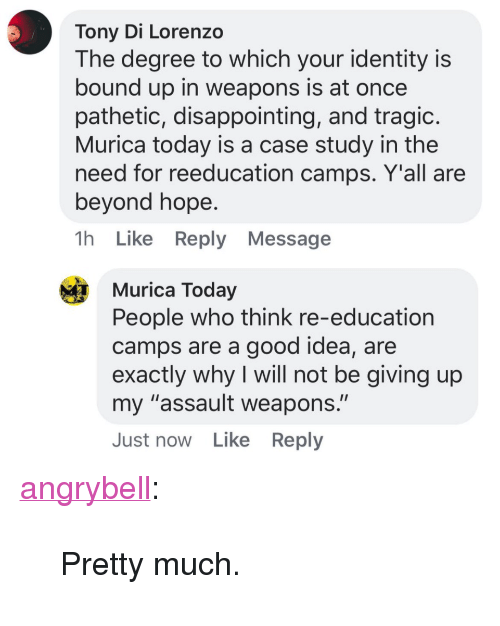 """lorenzo: Tony Di Lorenzo  The degree to which your identity is  bound up in weapons is at once  pathetic, disappointing, and tragic  Murica today is a case study in the  need for reeducation camps. Y'all are  beyond hope  1h Like Reply Message  Murica Today  People who think re-education  camps are a good idea, are  exactly why I will not be giving up  my """"assault weapons.""""  Just now Like Reply <p><a href=""""http://angrybell.tumblr.com/post/172382192977/pretty-much"""" class=""""tumblr_blog"""">angrybell</a>:</p><blockquote><p>Pretty much.</p></blockquote>"""