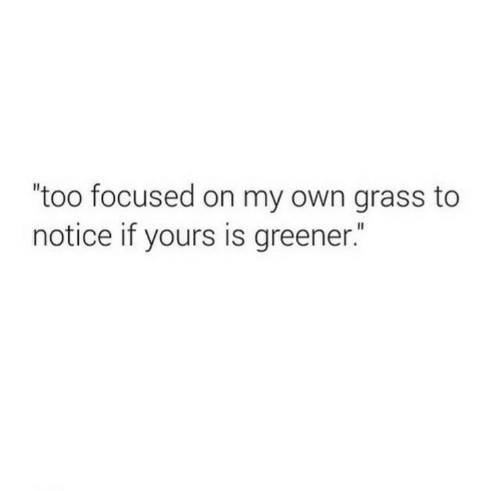 "on my own: ""too focused on my own grass to  notice if yours is greener."""