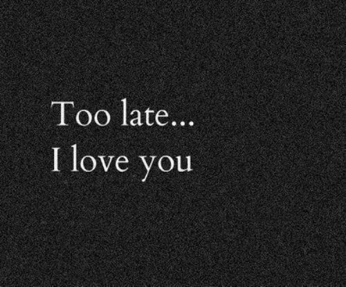 Love, I Love You, and You: Too late..  I love you