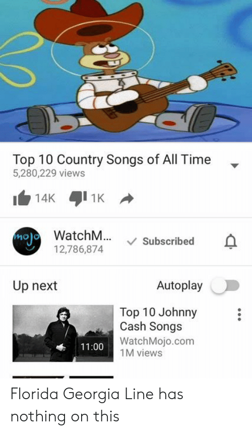 Florida, Georgia, and Johnny Cash: Top 10 Country Songs of All Time  5,280,229 views  atchM... Subscribed  12,786,874  molo  no)  Up next  Autoplay  Top 10 Johnny  Cash Songs  WatchMojo.com  11:00  1M viewsS Florida Georgia Line has nothing on this