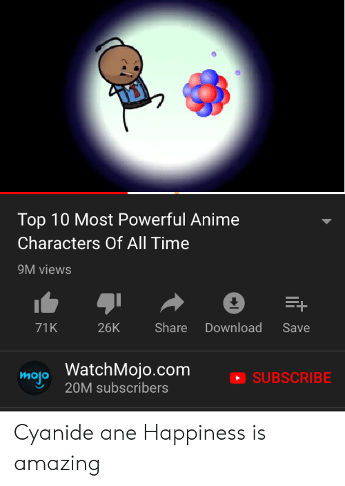 Most Powerful Anime Characters: Top 10 Most Powerful Anime  Characters Of All Time  9M views  Share  71K  26K  Download  Save  map WatchMojo.com  20M subscribers  SUBSCRIBE Cyanide ane Happiness is amazing