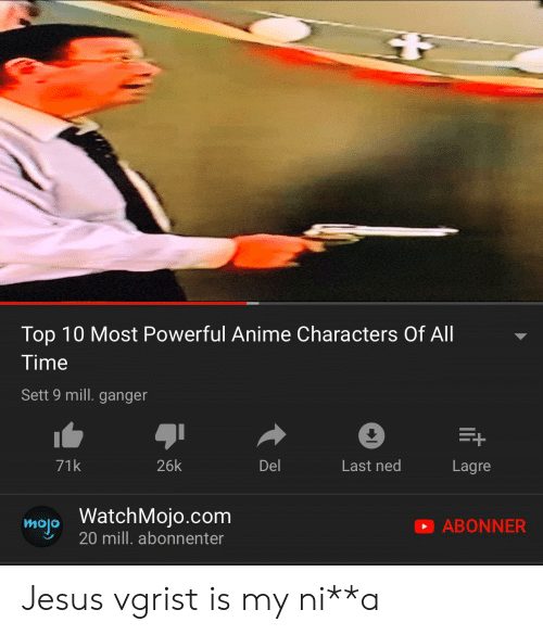 Most Powerful Anime Characters: Top 10 Most Powerful Anime Characters Of All  Time  Sett 9 mill. ganger  E+  71k  26k  Del  Last ned  Lagre  WatchMojo.com  mo20 mill. abonnenter  ABONNER Jesus vgrist is my ni**a